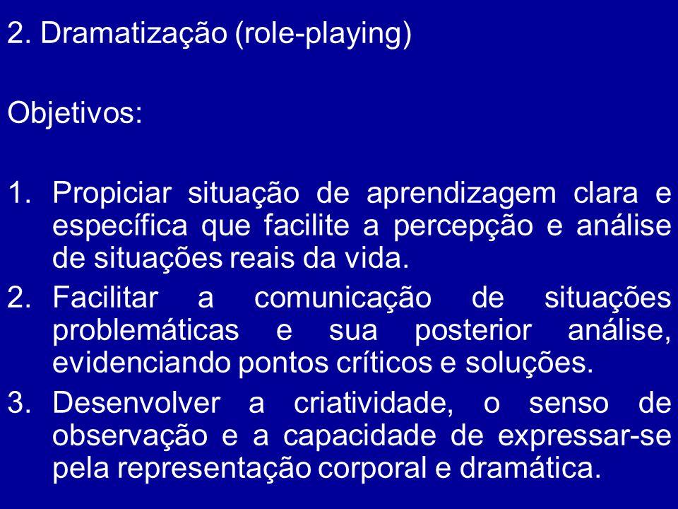2. Dramatização (role-playing) Objetivos: 1.Propiciar situação de aprendizagem clara e específica que facilite a percepção e análise de situações reai