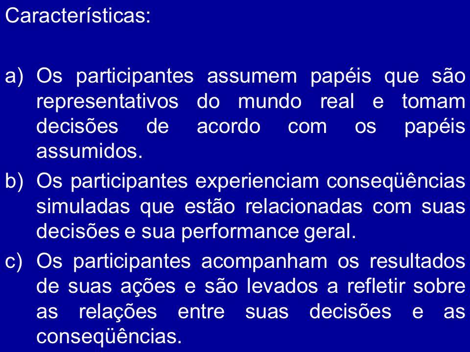 Características: a)Os participantes assumem papéis que são representativos do mundo real e tomam decisões de acordo com os papéis assumidos. b)Os part
