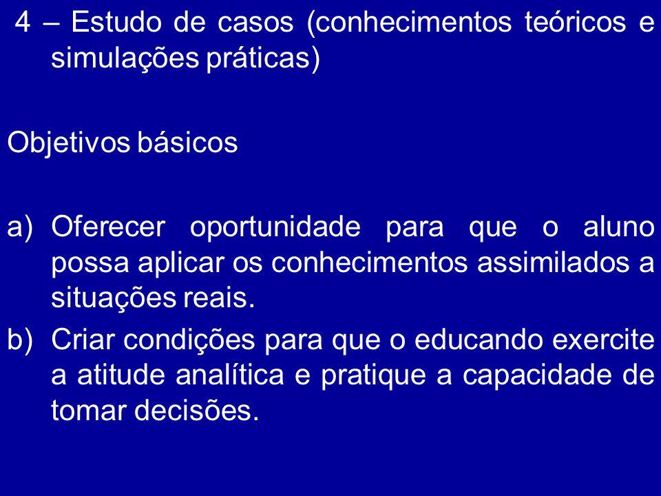 4 – Estudo de casos (conhecimentos teóricos e simulações práticas) Objetivos básicos a)Oferecer oportunidade para que o aluno possa aplicar os conheci