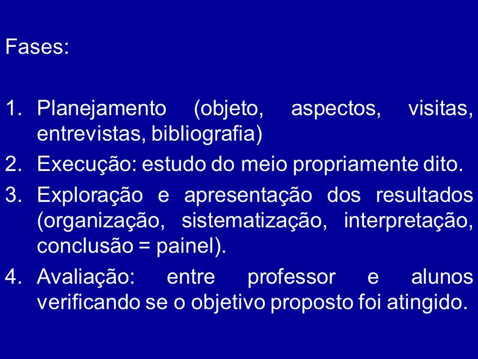 Fases: 1.Planejamento (objeto, aspectos, visitas, entrevistas, bibliografia) 2.Execução: estudo do meio propriamente dito. 3.Exploração e apresentação