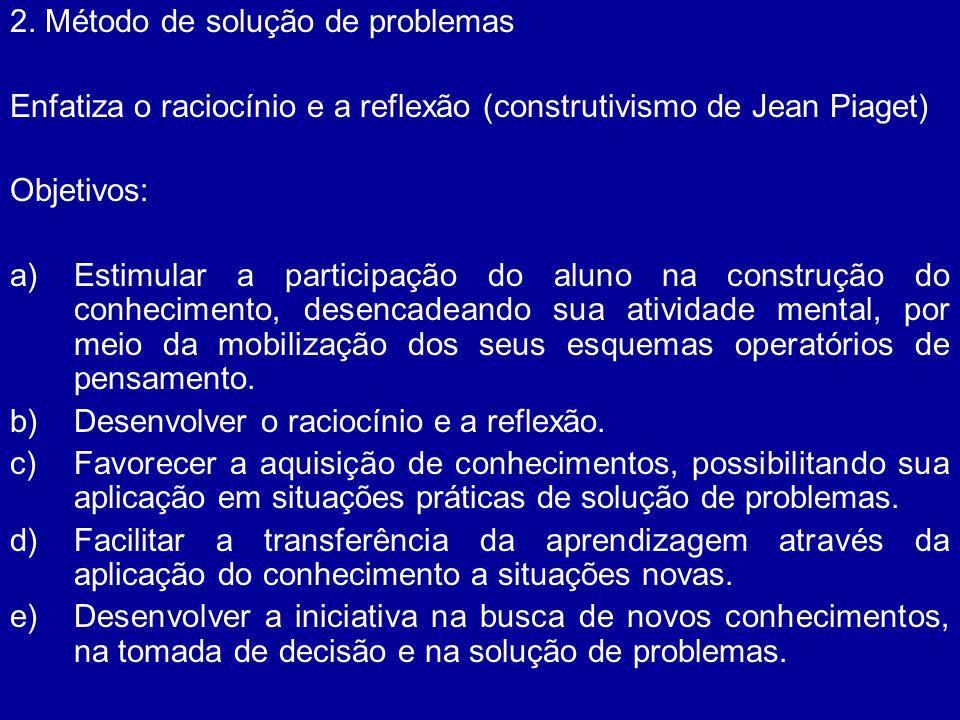 2. Método de solução de problemas Enfatiza o raciocínio e a reflexão (construtivismo de Jean Piaget) Objetivos: a)Estimular a participação do aluno na