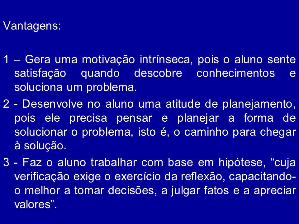 Vantagens: 1 – Gera uma motivação intrínseca, pois o aluno sente satisfação quando descobre conhecimentos e soluciona um problema. 2 - Desenvolve no a