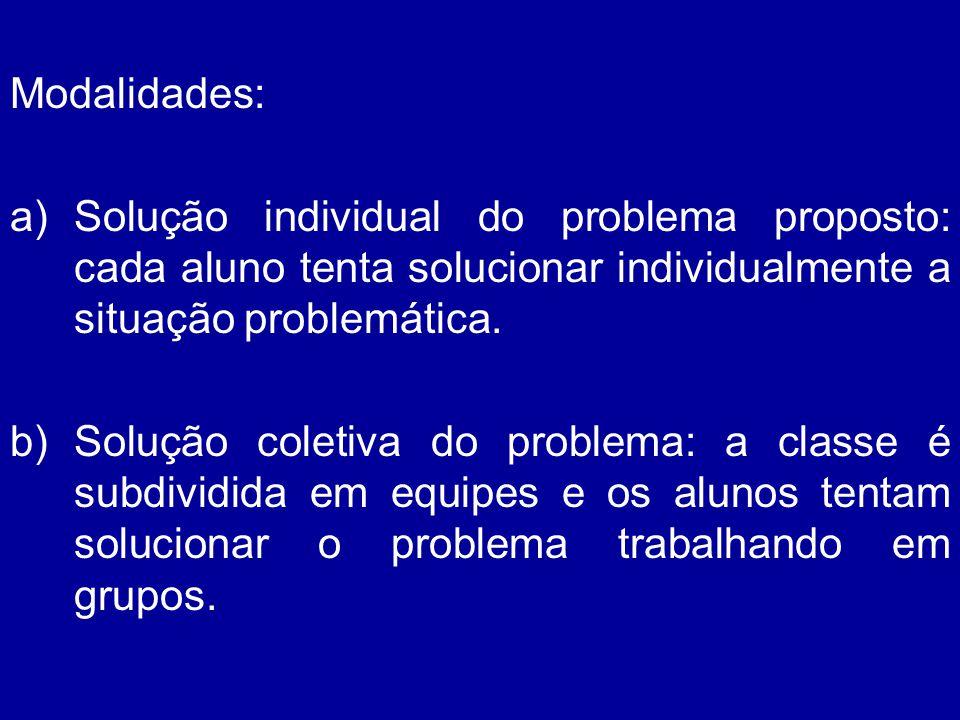 Modalidades: a)Solução individual do problema proposto: cada aluno tenta solucionar individualmente a situação problemática. b)Solução coletiva do pro