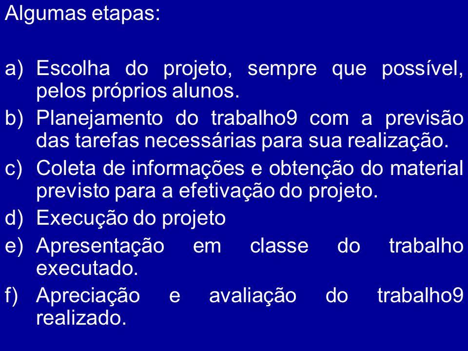 Algumas etapas: a)Escolha do projeto, sempre que possível, pelos próprios alunos. b)Planejamento do trabalho9 com a previsão das tarefas necessárias p