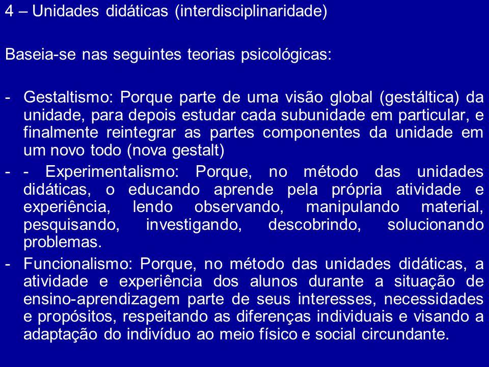 4 – Unidades didáticas (interdisciplinaridade) Baseia-se nas seguintes teorias psicológicas: -Gestaltismo: Porque parte de uma visão global (gestáltic