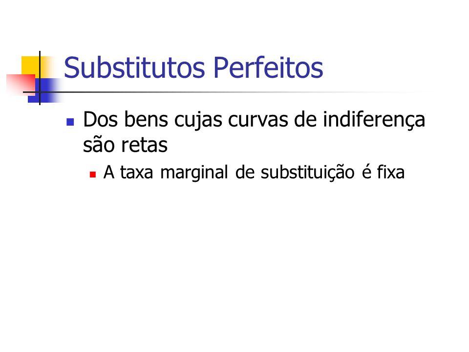 Substitutos Perfeitos Dos bens cujas curvas de indiferença são retas A taxa marginal de substituição é fixa