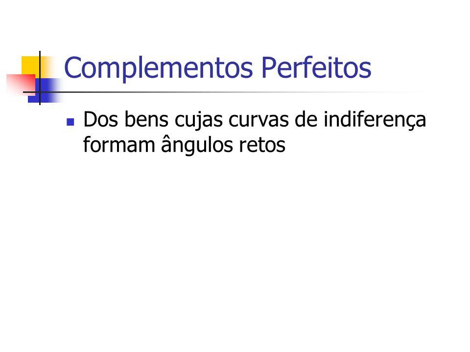 Complementos Perfeitos Dos bens cujas curvas de indiferença formam ângulos retos