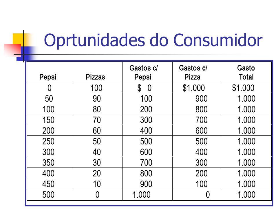 Restrição Orçamentária do Consumidor Qualquer ponto na linha indica a combinação de dois produtos que o consumidor pode adquirir Por exemplo, se o consumidor adquire 500 garrafas de pepsi ele não consome nenhuma pizza (ponto B).