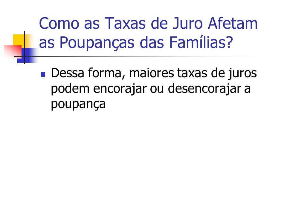 Como as Taxas de Juro Afetam as Poupanças das Famílias? Dessa forma, maiores taxas de juros podem encorajar ou desencorajar a poupança