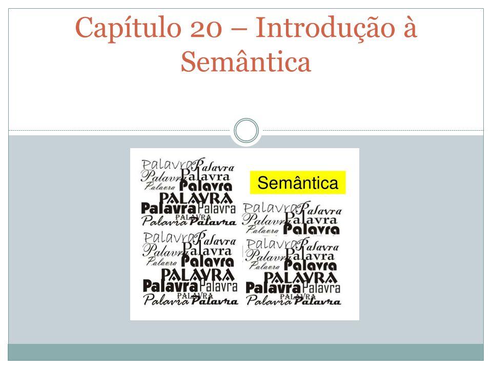 PROFESSORA ANA PAULA Capítulo 20 – Introdução à Semântica