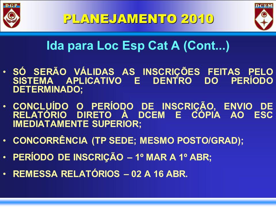 PLANEJAMENTO 2010 Ida para Loc Esp Cat A (Cont...) SÓ SERÃO VÁLIDAS AS INSCRIÇÕES FEITAS PELO SISTEMA APLICATIVO E DENTRO DO PERÍODO DETERMINADO; CONCLUÍDO O PERÍODO DE INSCRIÇÃO, ENVIO DE RELATÓRIO DIRETO À DCEM E CÓPIA AO ESC IMEDIATAMENTE SUPERIOR; CONCORRÊNCIA (TP SEDE; MESMO POSTO/GRAD); PERÍODO DE INSCRIÇÃO – 1º MAR A 1º ABR; REMESSA RELATÓRIOS – 02 A 16 ABR.