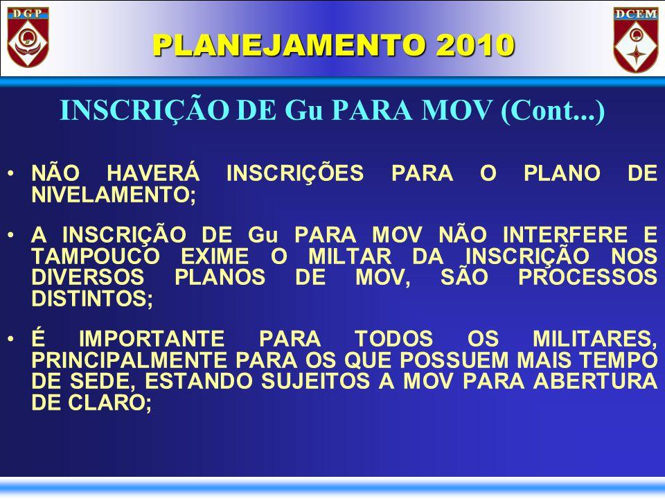 PLANEJAMENTO 2010 INSCRIÇÃO DE Gu PARA MOV (Cont...) NÃO HAVERÁ INSCRIÇÕES PARA O PLANO DE NIVELAMENTO; A INSCRIÇÃO DE Gu PARA MOV NÃO INTERFERE E TAMPOUCO EXIME O MILTAR DA INSCRIÇÃO NOS DIVERSOS PLANOS DE MOV, SÃO PROCESSOS DISTINTOS; É IMPORTANTE PARA TODOS OS MILITARES, PRINCIPALMENTE PARA OS QUE POSSUEM MAIS TEMPO DE SEDE, ESTANDO SUJEITOS A MOV PARA ABERTURA DE CLARO;