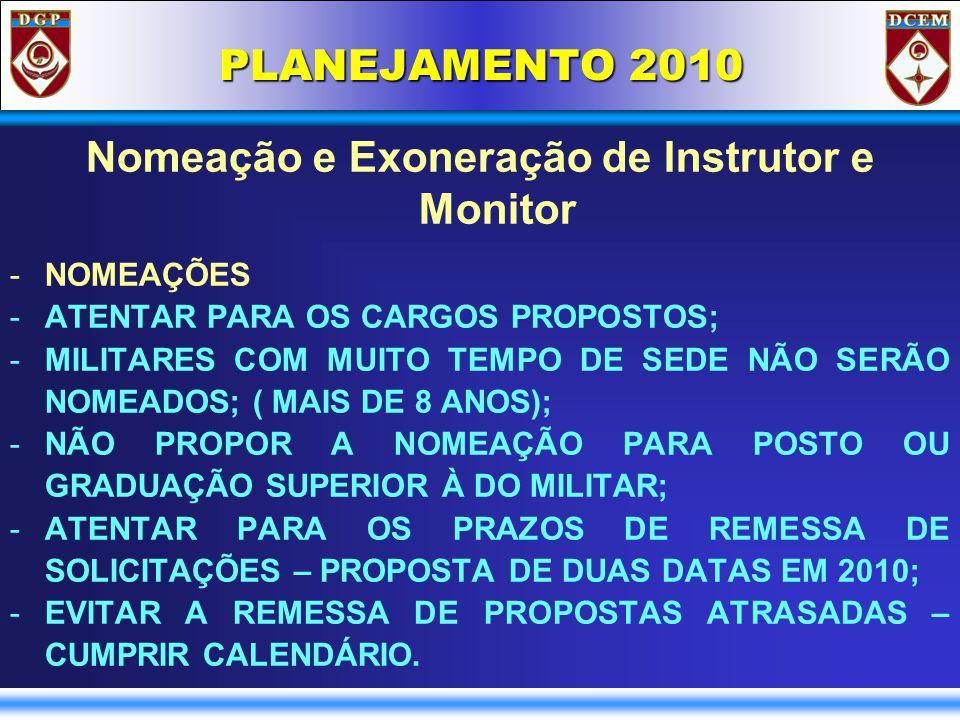 PLANEJAMENTO 2010 Nomeação e Exoneração de Instrutor e Monitor -NOMEAÇÕES -ATENTAR PARA OS CARGOS PROPOSTOS; -MILITARES COM MUITO TEMPO DE SEDE NÃO SERÃO NOMEADOS; ( MAIS DE 8 ANOS); -NÃO PROPOR A NOMEAÇÃO PARA POSTO OU GRADUAÇÃO SUPERIOR À DO MILITAR; -ATENTAR PARA OS PRAZOS DE REMESSA DE SOLICITAÇÕES – PROPOSTA DE DUAS DATAS EM 2010; -EVITAR A REMESSA DE PROPOSTAS ATRASADAS – CUMPRIR CALENDÁRIO.