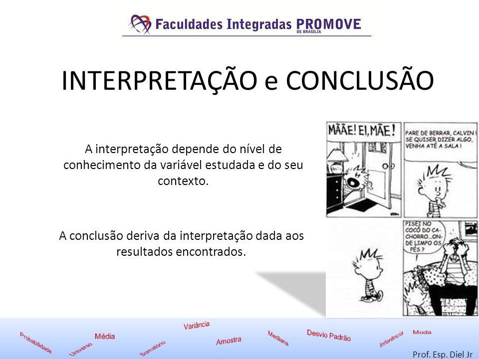 INTERPRETAÇÃO e CONCLUSÃO Prof. Esp. Diel Jr A interpretação depende do nível de conhecimento da variável estudada e do seu contexto. A conclusão deri