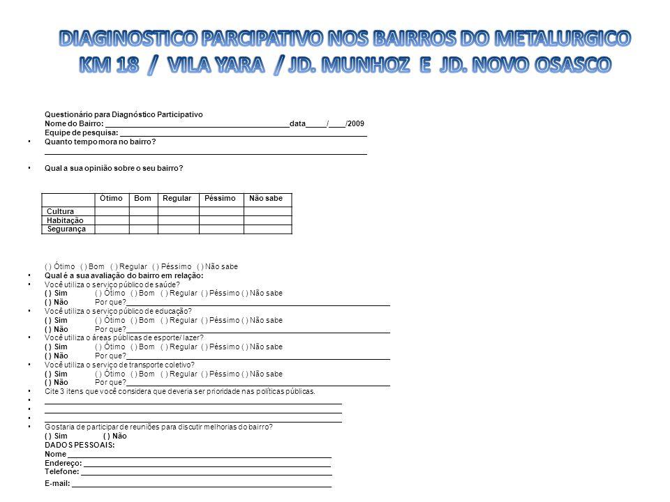 ÓtimoBomRegularPéssimoNão sabe Cultura Habitação Segurança Questionário para Diagnóstico Participativo Nome do Bairro: _______________________________