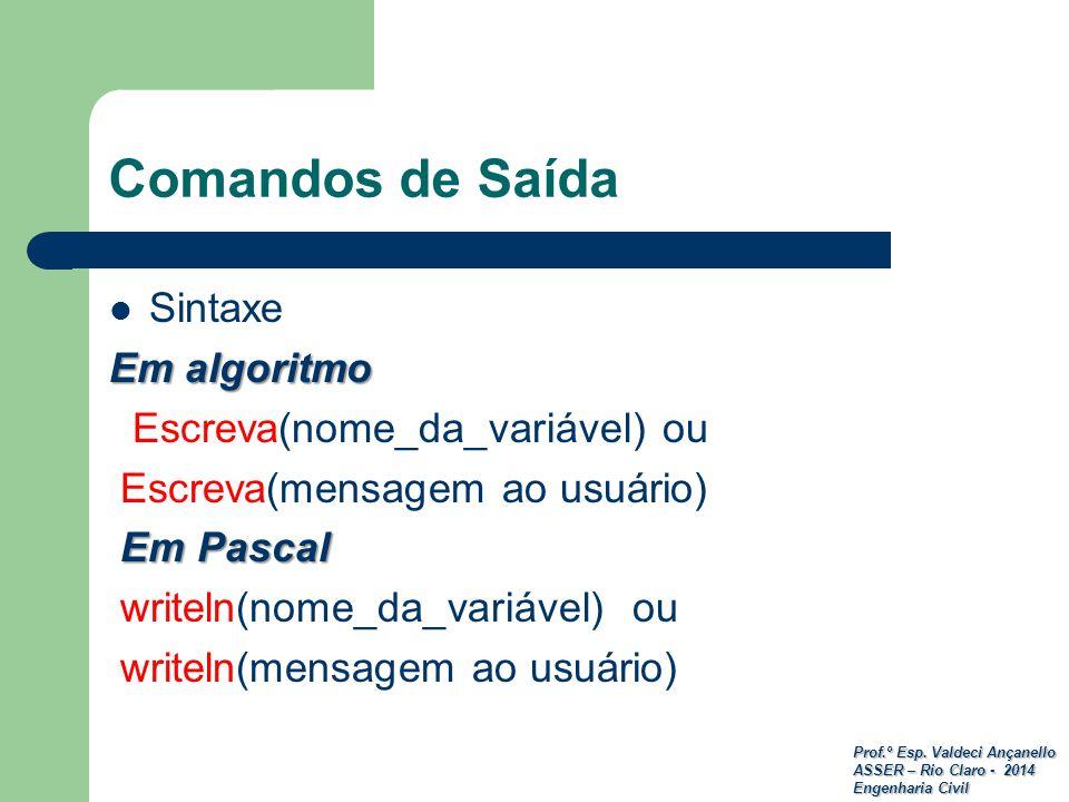 Prof.º Esp. Valdeci Ançanello ASSER – Rio Claro - 2014 Engenharia Civil Comandos de Saída Sintaxe Em algoritmo Escreva(nome_da_variável) ou Escreva(me