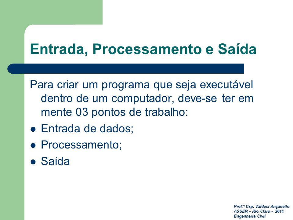 Prof.º Esp. Valdeci Ançanello ASSER – Rio Claro - 2014 Engenharia Civil Entrada, Processamento e Saída Para criar um programa que seja executável dent