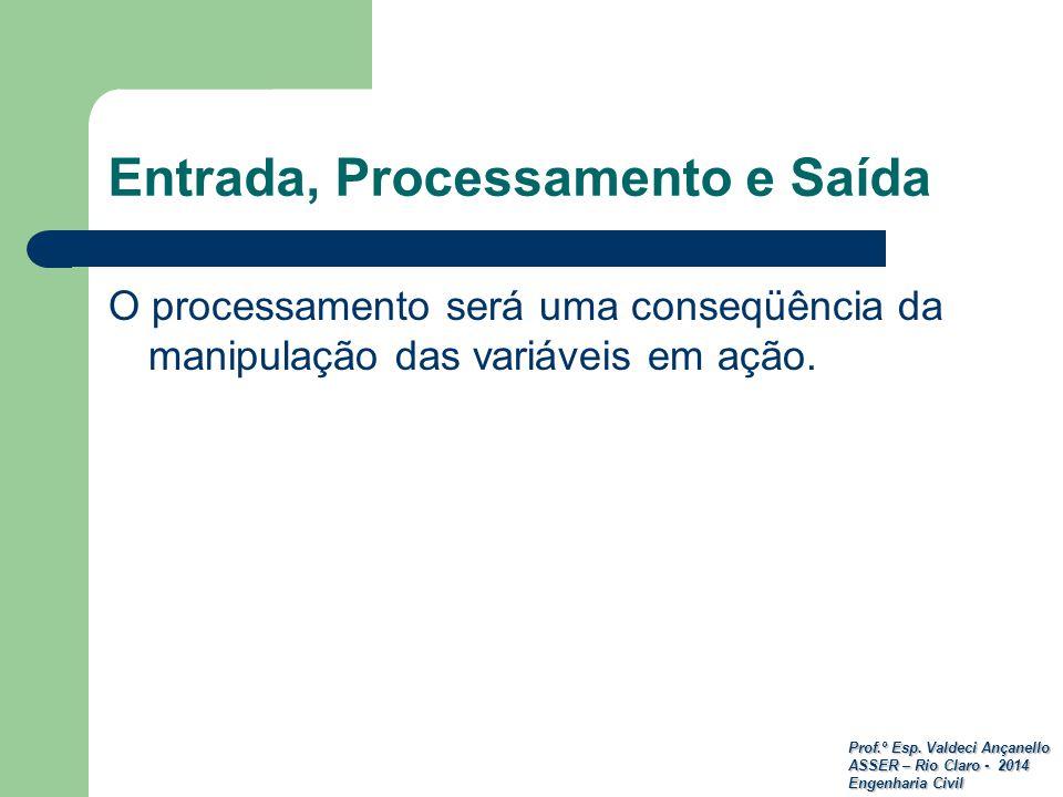 Prof.º Esp. Valdeci Ançanello ASSER – Rio Claro - 2014 Engenharia Civil Entrada, Processamento e Saída O processamento será uma conseqüência da manipu