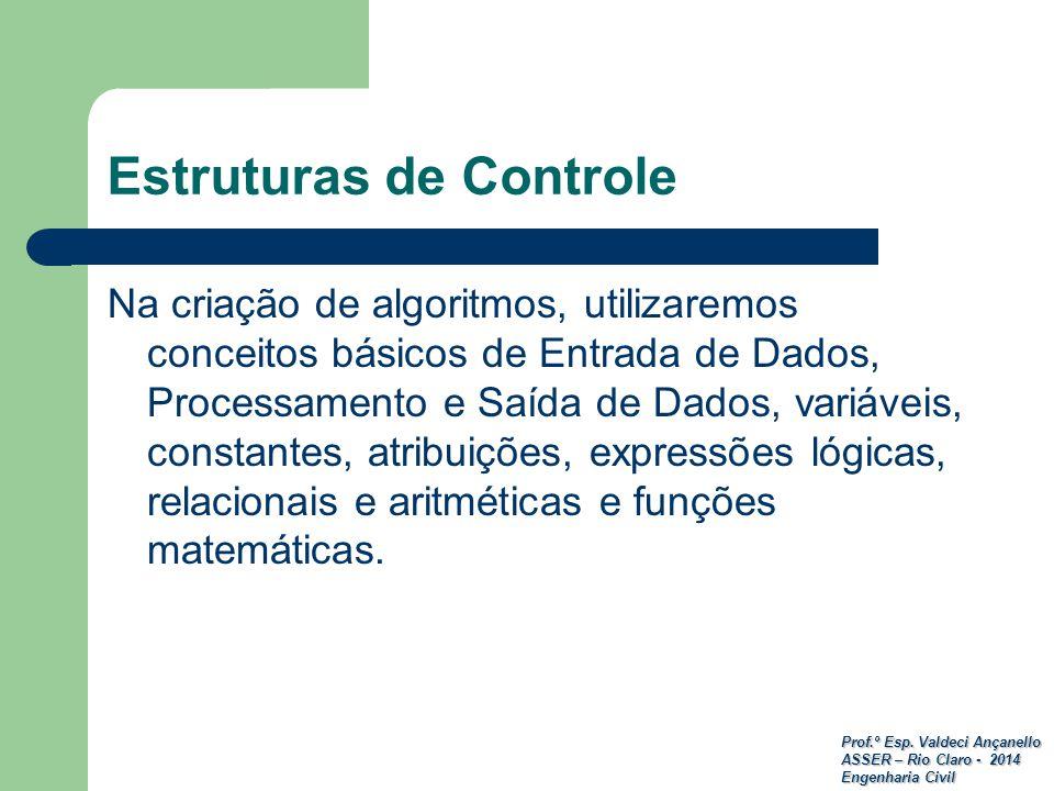 Prof.º Esp. Valdeci Ançanello ASSER – Rio Claro - 2014 Engenharia Civil Estruturas de Controle Na criação de algoritmos, utilizaremos conceitos básico