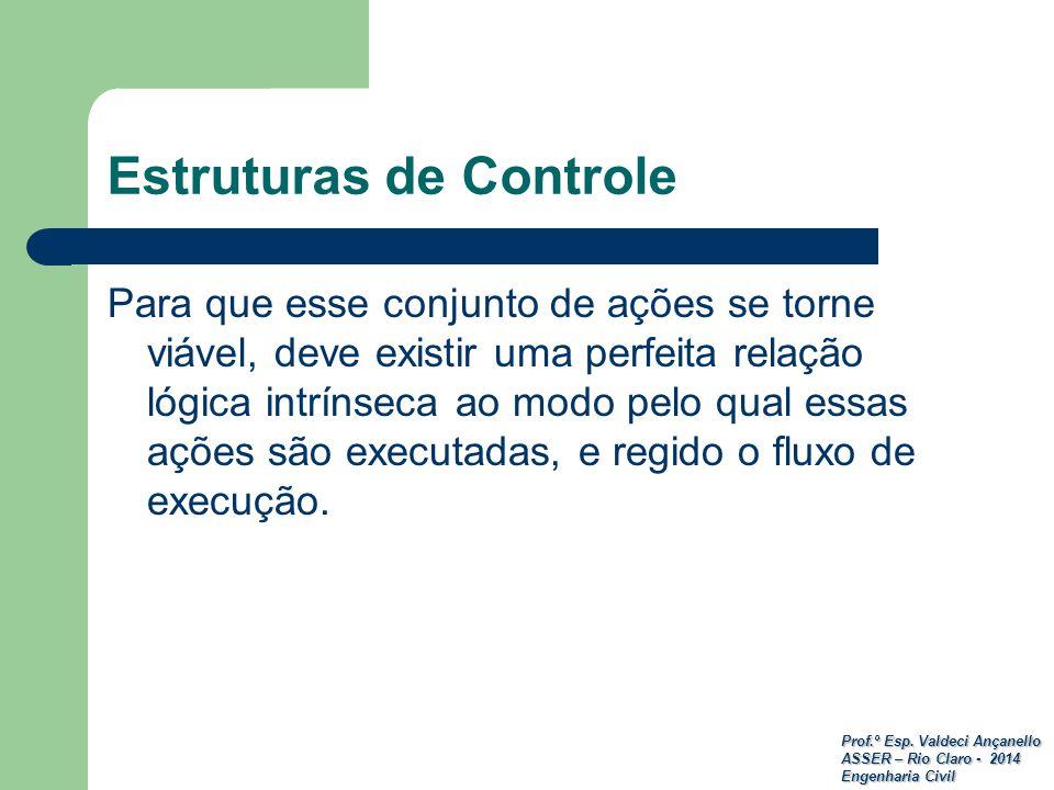 Prof.º Esp. Valdeci Ançanello ASSER – Rio Claro - 2014 Engenharia Civil Estruturas de Controle Para que esse conjunto de ações se torne viável, deve e