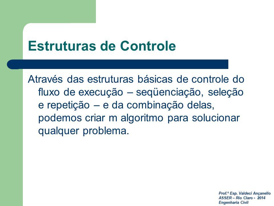 Prof.º Esp. Valdeci Ançanello ASSER – Rio Claro - 2014 Engenharia Civil Estruturas de Controle Através das estruturas básicas de controle do fluxo de