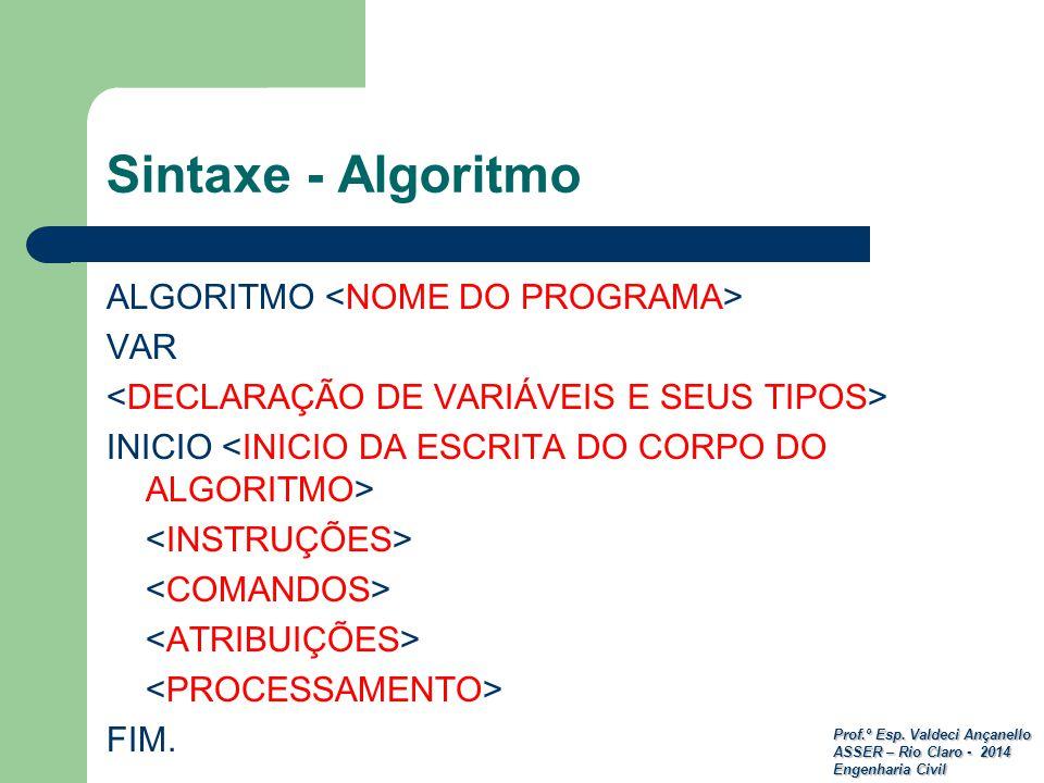 Prof.º Esp. Valdeci Ançanello ASSER – Rio Claro - 2014 Engenharia Civil Sintaxe - Algoritmo ALGORITMO VAR INICIO FIM.