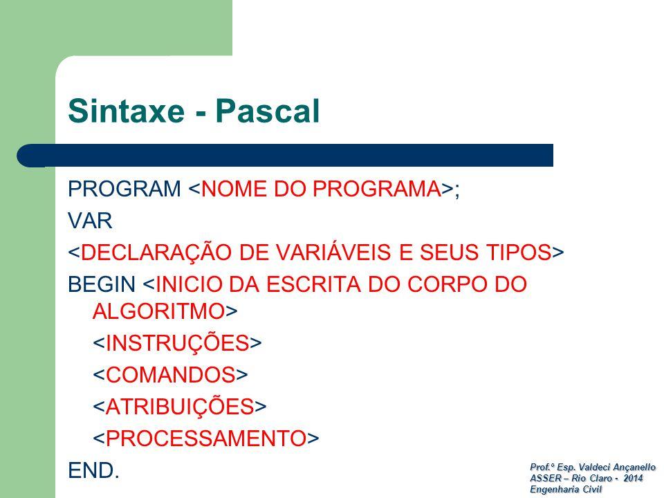 Prof.º Esp. Valdeci Ançanello ASSER – Rio Claro - 2014 Engenharia Civil Sintaxe - Pascal PROGRAM ; VAR BEGIN END.