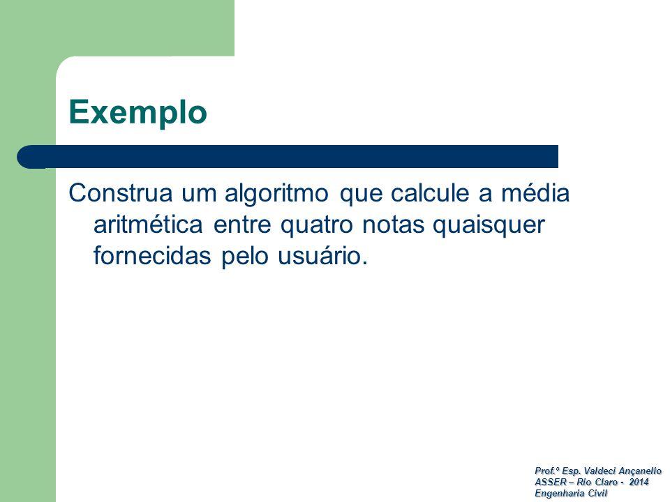 Prof.º Esp. Valdeci Ançanello ASSER – Rio Claro - 2014 Engenharia Civil Exemplo Construa um algoritmo que calcule a média aritmética entre quatro nota