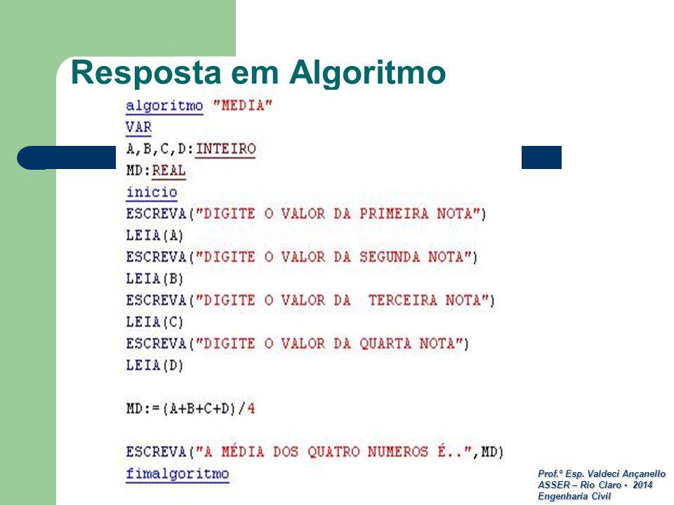 Prof.º Esp. Valdeci Ançanello ASSER – Rio Claro - 2014 Engenharia Civil Resposta em Algoritmo