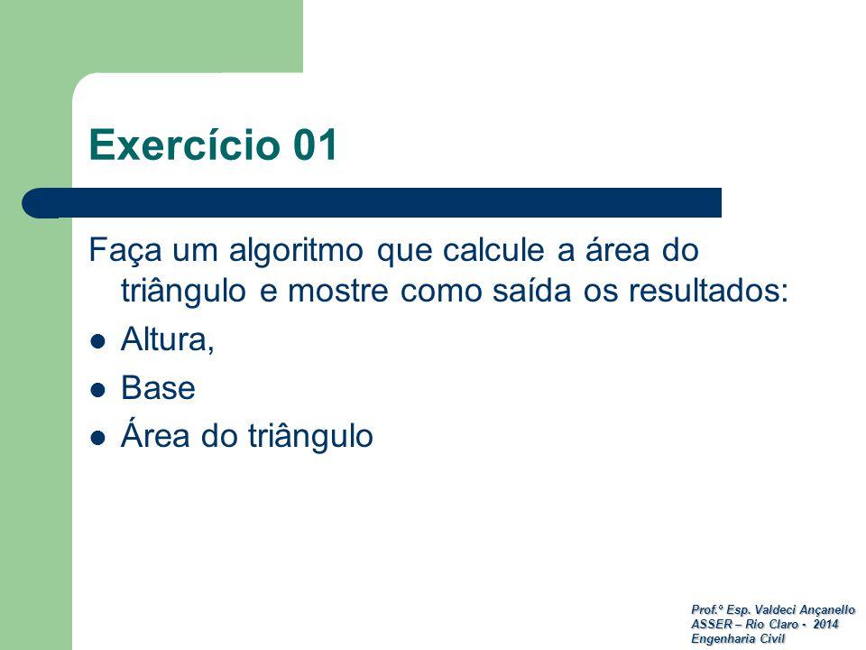 Prof.º Esp. Valdeci Ançanello ASSER – Rio Claro - 2014 Engenharia Civil Exercício 01 Faça um algoritmo que calcule a área do triângulo e mostre como s