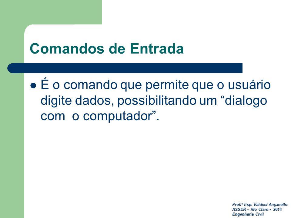Prof.º Esp. Valdeci Ançanello ASSER – Rio Claro - 2014 Engenharia Civil Comandos de Entrada É o comando que permite que o usuário digite dados, possib