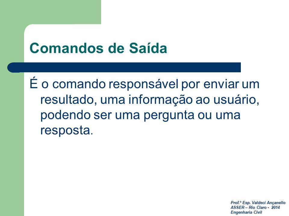 Prof.º Esp. Valdeci Ançanello ASSER – Rio Claro - 2014 Engenharia Civil Comandos de Saída É o comando responsável por enviar um resultado, uma informa