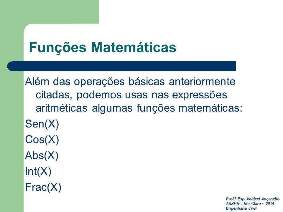 Prof.º Esp. Valdeci Ançanello ASSER – Rio Claro - 2014 Engenharia Civil Funções Matemáticas Além das operações básicas anteriormente citadas, podemos