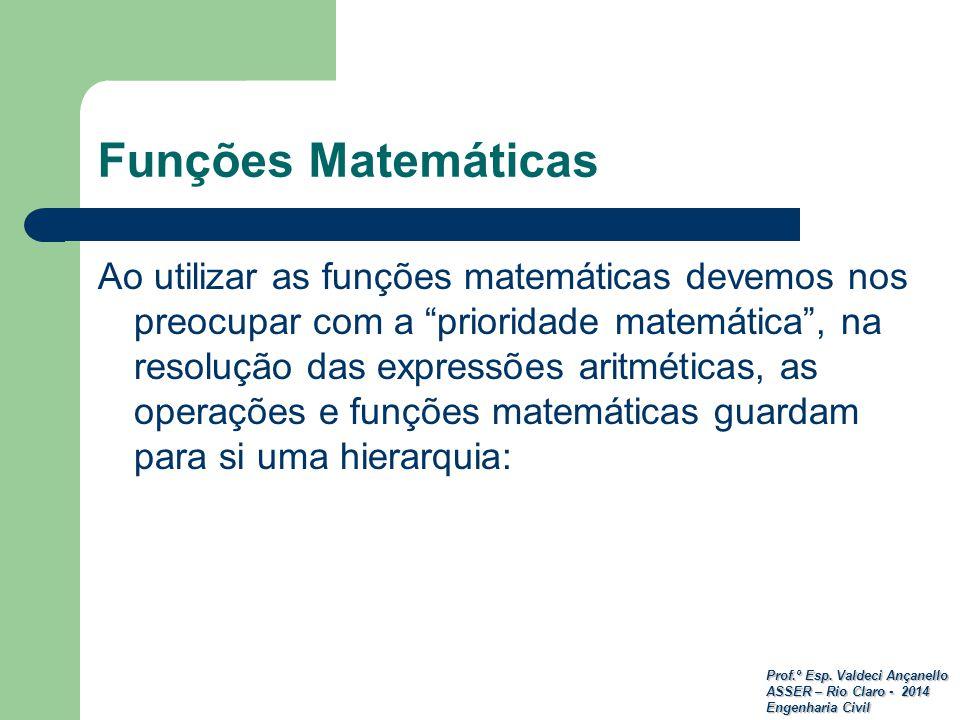 Prof.º Esp. Valdeci Ançanello ASSER – Rio Claro - 2014 Engenharia Civil Funções Matemáticas Ao utilizar as funções matemáticas devemos nos preocupar c