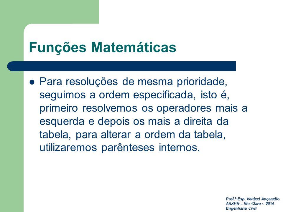 Prof.º Esp. Valdeci Ançanello ASSER – Rio Claro - 2014 Engenharia Civil Funções Matemáticas Para resoluções de mesma prioridade, seguimos a ordem espe