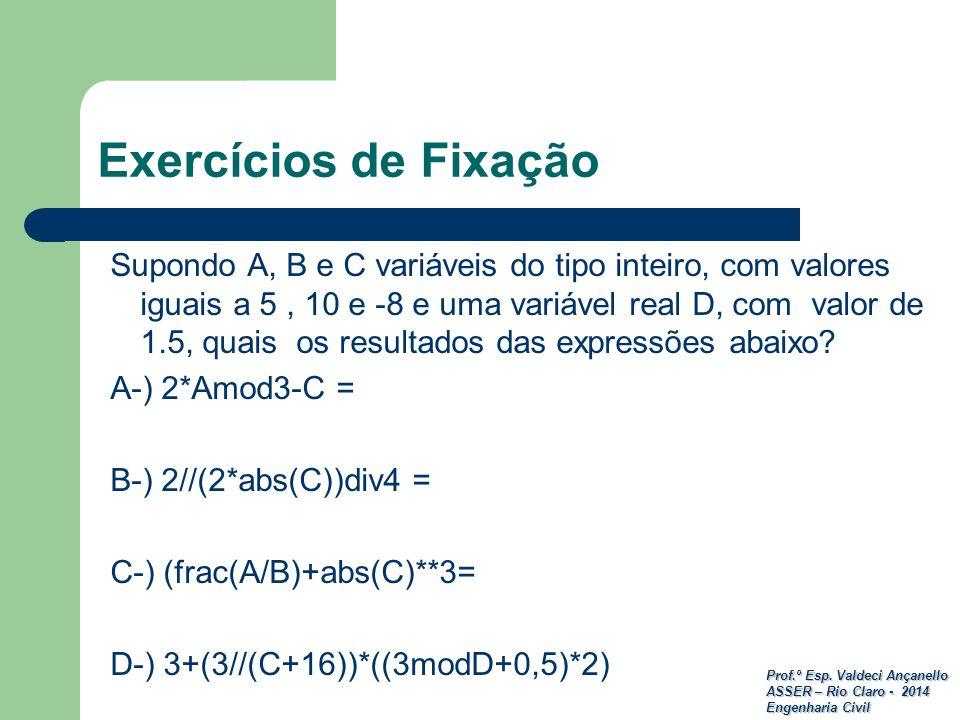 Prof.º Esp. Valdeci Ançanello ASSER – Rio Claro - 2014 Engenharia Civil Exercícios de Fixação Supondo A, B e C variáveis do tipo inteiro, com valores