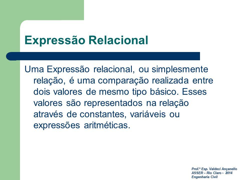 Prof.º Esp. Valdeci Ançanello ASSER – Rio Claro - 2014 Engenharia Civil Expressão Relacional Uma Expressão relacional, ou simplesmente relação, é uma