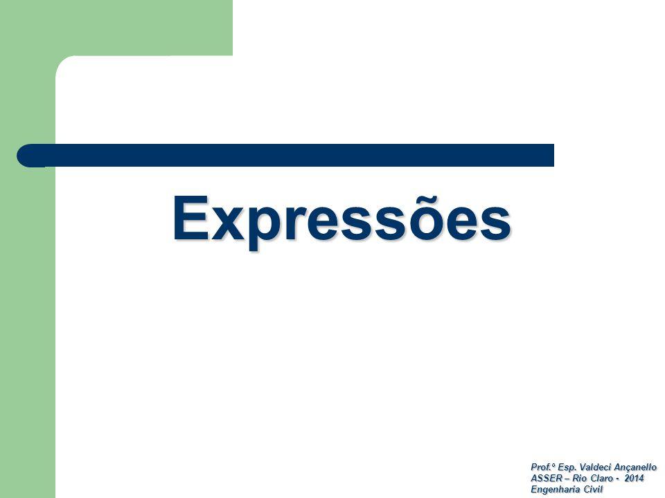 Prof.º Esp. Valdeci Ançanello ASSER – Rio Claro - 2014 Engenharia Civil Expressões
