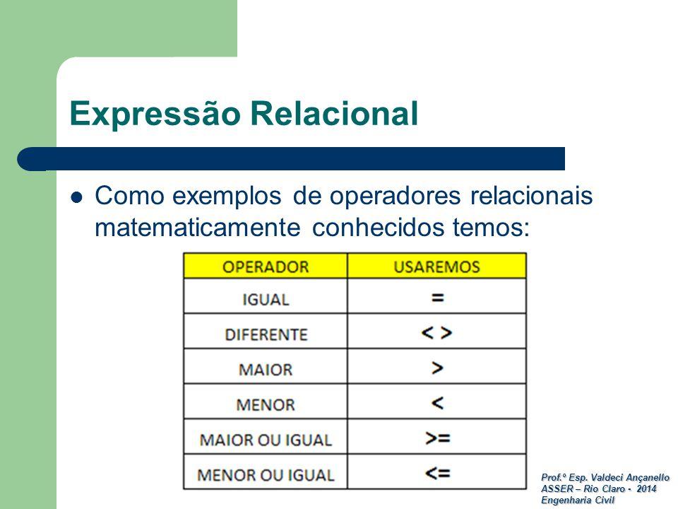 Prof.º Esp. Valdeci Ançanello ASSER – Rio Claro - 2014 Engenharia Civil Expressão Relacional Como exemplos de operadores relacionais matematicamente c