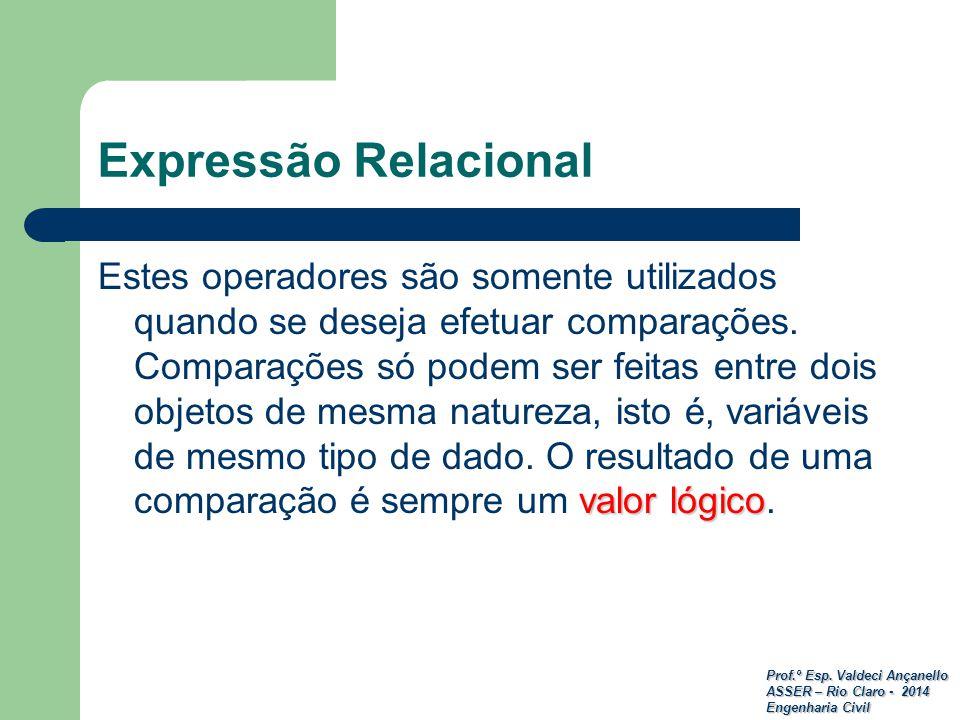 Prof.º Esp. Valdeci Ançanello ASSER – Rio Claro - 2014 Engenharia Civil Expressão Relacional valor lógico Estes operadores são somente utilizados quan