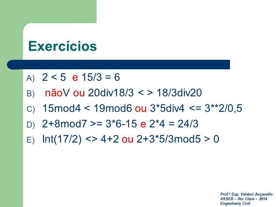 Prof.º Esp. Valdeci Ançanello ASSER – Rio Claro - 2014 Engenharia Civil Exercícios A) 2 < 5 e 15/3 = 6 B) nãoV ou 20div18/3 18/3div20 C) 15mod4 < 19mo