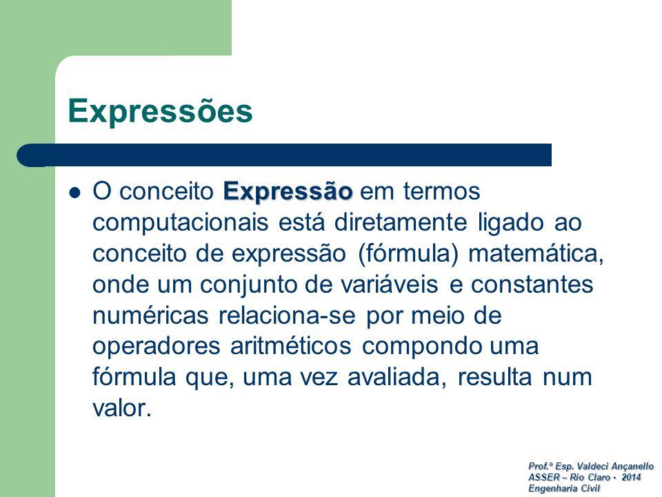 Prof.º Esp. Valdeci Ançanello ASSER – Rio Claro - 2014 Engenharia Civil Expressão O conceito Expressão em termos computacionais está diretamente ligad