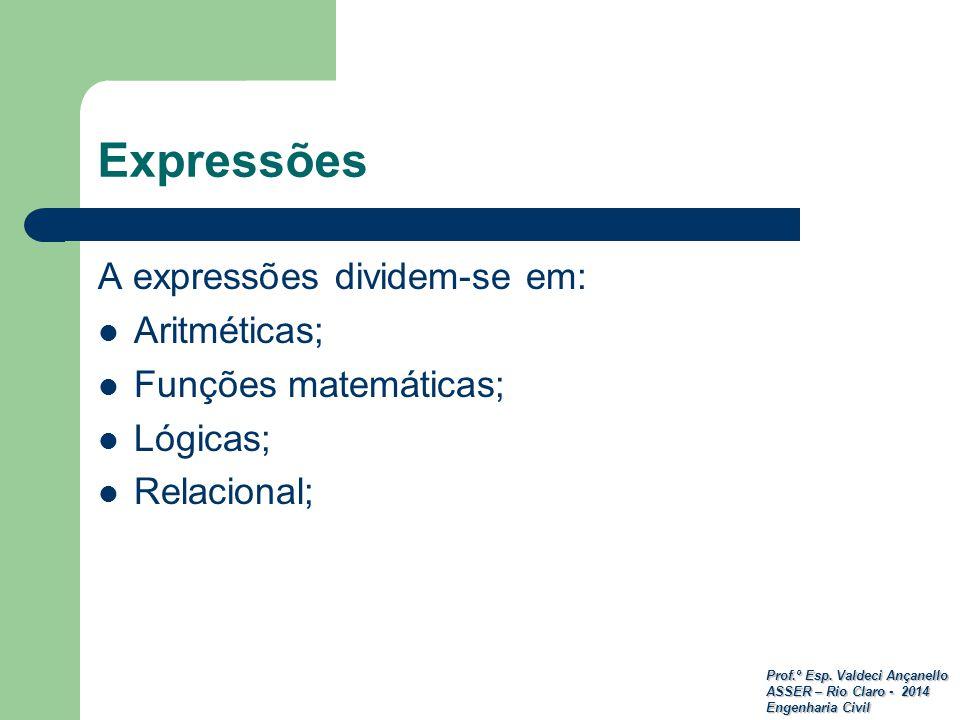 Prof.º Esp. Valdeci Ançanello ASSER – Rio Claro - 2014 Engenharia Civil A expressões dividem-se em: Aritméticas; Funções matemáticas; Lógicas; Relacio