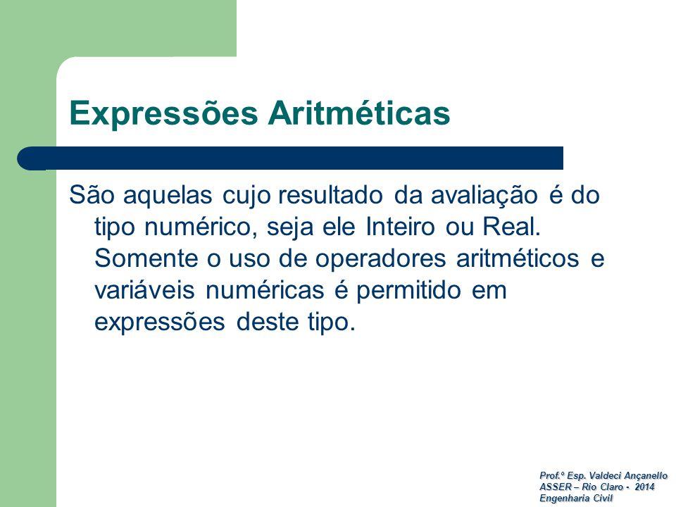 Prof.º Esp. Valdeci Ançanello ASSER – Rio Claro - 2014 Engenharia Civil São aquelas cujo resultado da avaliação é do tipo numérico, seja ele Inteiro o
