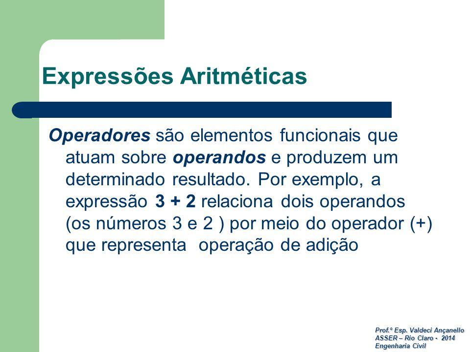 Prof.º Esp. Valdeci Ançanello ASSER – Rio Claro - 2014 Engenharia Civil Expressões Aritméticas Operadores são elementos funcionais que atuam sobre ope