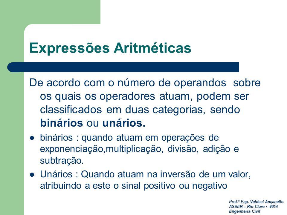 Prof.º Esp. Valdeci Ançanello ASSER – Rio Claro - 2014 Engenharia Civil Expressões Aritméticas De acordo com o número de operandos sobre os quais os o