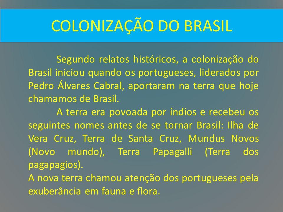 COLONIZAÇÃO DO BRASIL Segundo relatos históricos, a colonização do Brasil iniciou quando os portugueses, liderados por Pedro Álvares Cabral, aportaram