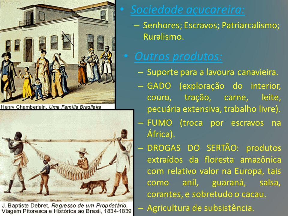 Sociedade açucareira: – Senhores; Escravos; Patriarcalismo; Ruralismo. Outros produtos: – Suporte para a lavoura canavieira. – GADO (exploração do int