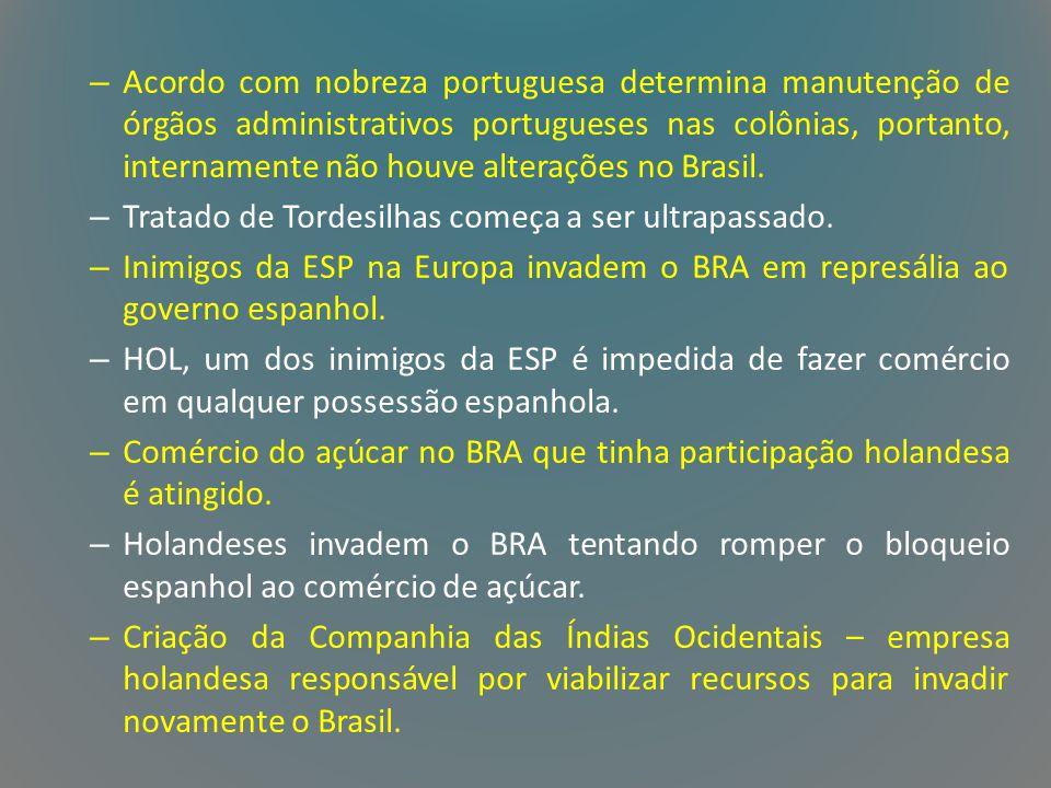 – Acordo com nobreza portuguesa determina manutenção de órgãos administrativos portugueses nas colônias, portanto, internamente não houve alterações n