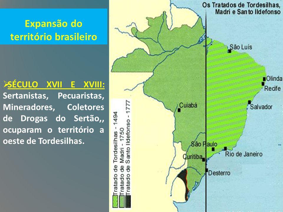 Expansão do território brasileiro  SÉCULO XVII E XVIII: Sertanistas, Pecuaristas, Mineradores, Coletores de Drogas do Sertão,, ocuparam o território